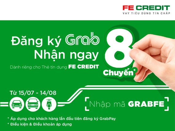 """""""Đăng ký GrabPay – nhận ngay 8 chuyến"""" cho chủ thẻ tín dụng Fe Credit"""