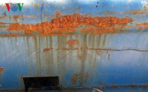 Vỏ tàu do Công ty TNHH Đại Nguyên Dương đóng bị rỉ sét.