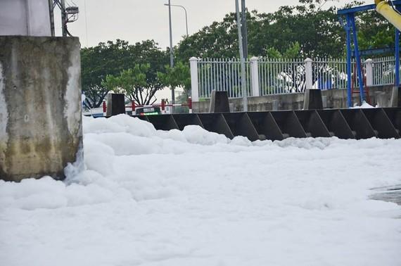 Bọt trắng như tuyết nổi đầy kênh Tàu Hủ