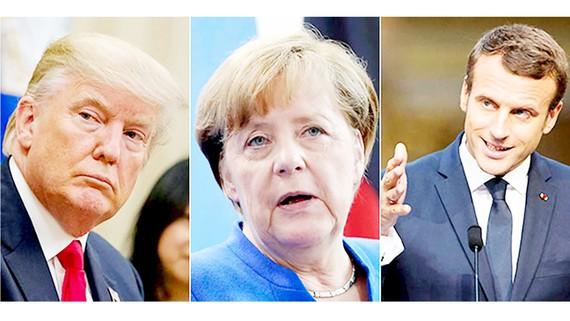 Tổng thống Mỹ Donald Trump, Thủ tướng Đức Angela Merkel, Tổng thống Pháp Emmanuel Macron