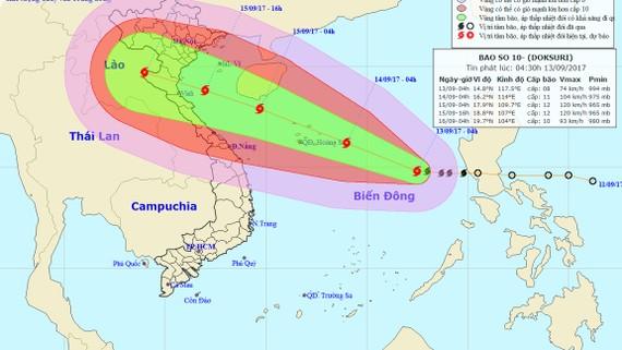 Hình ảnh vị trí và hướng đi của bão số 10. Nguồn TTDBKTTVTƯ