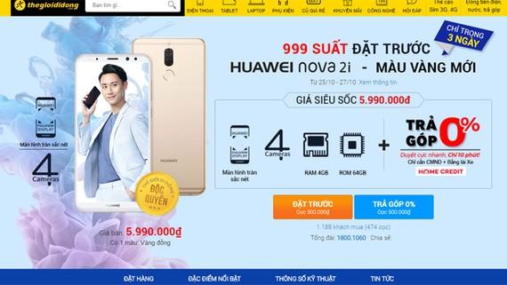Số lượng đặt hàng Huawei nova 2i trên website Thế Giới Di Động (tính tới 9 giờ ngày 26-10)