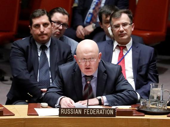 Ông Vassily Nebenzia, đại sứ Nga tại LHQ. Ảnh: REUTERS