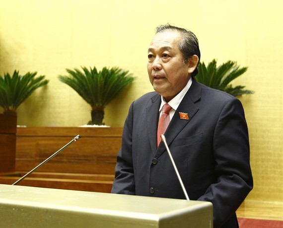 Deputy Prime Minister Truong Hoa Binh in the Q&A session of National Assembly agenda yesterday. (Photo:  VNA/VNS)