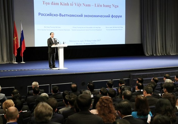 President Tran Dai Quang gives a speech at yesterday's Vietnam-Russia economic seminar in Moscow. (Photo: VNA/VNS)