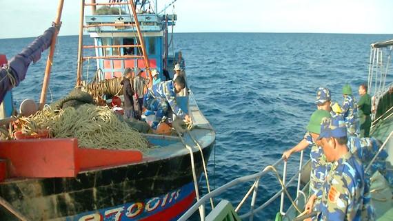 Lực lượng chức năng bắt giữ tàu hành nghề giã cào trái phép trên vùng biển Quảng Trị