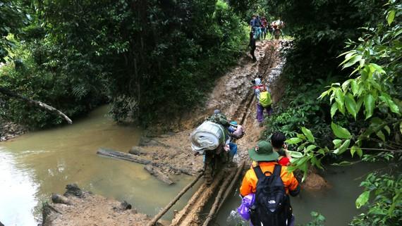Địa hình di chuyển trong cung trekking Tà Năng – Phan Dũng thường đi qua nhiều suối khá nguy hiểm vào mùa mưa. Ảnh: VÕ THẮM