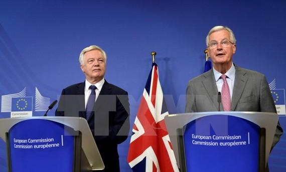 Trưởng đoàn đàm phán Brexit của EU Michel Barnier (phải) và Bộ trưởng phụ trách vấn đề Brexit David Davis (trái) của Anh tại cuộc họp ở Brussels, Bỉ ngày 17/7. (Nguồn: EPA/TTXVN)