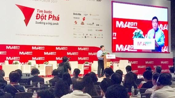 計劃與投資部長阮志勇在第9次越南企業併購論壇上發表講話。