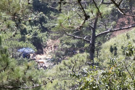 Lán trại phục vụ khai thác thiếc trái phép tại khu vực Núi Cao