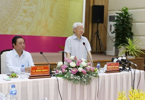 General Secretary Nguyen Phu Trong during a working session in Dong Thap (Source: VNA)
