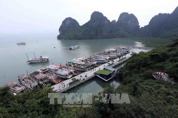 Tourism boats at Dau Go Cave (Photo: VNA)