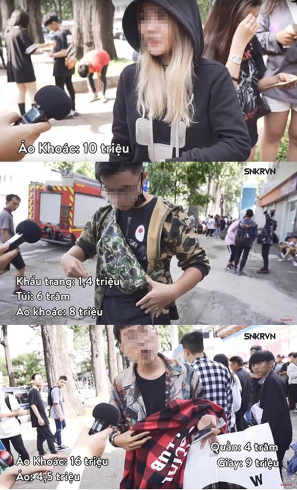 Young people are introducing the designer clothes they are wearing (Photo from clip of SNKRVN)