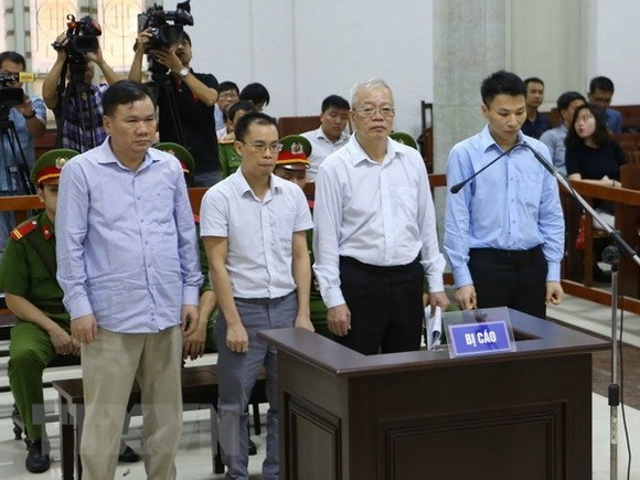 The four defendants, who are former senior members of PVTEX, at the trial on August 28 (Photo: VNA)