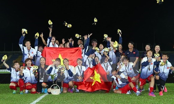 Vietnamese women football team triumph at SEA Games 29 (Photo: VNA)