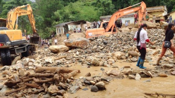A landslide experiences in Mu Cang Chai district of Yen Bai (Illustrative photo: Nha Hue)