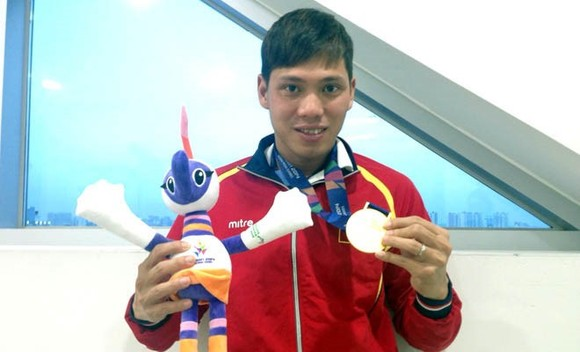Vietnamese swimmer Vo Thanh Tung at the 2014 Asian Para Games (Source: VNA)