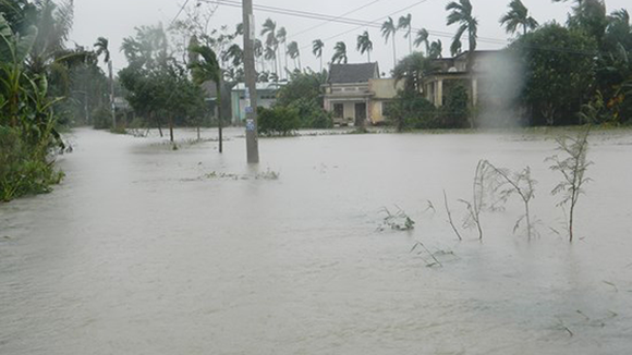 The high rainfall causes floodwater increase in rivers from Quang Ngai to Ninh Thuan