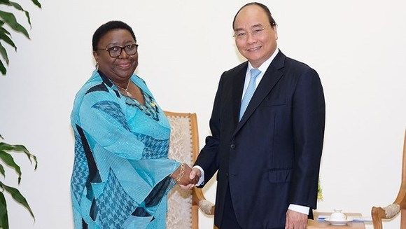 Vietnamese Prime Minister Nguyen Xuan Phuc and Minister of Foreign Affairs of the Republic of Liberia Marjon Vashti Kamara (Photo:VGP)