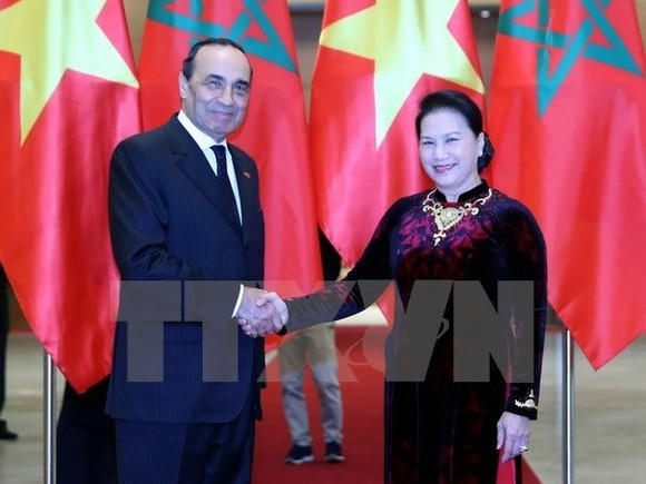 Chairwoman of the National Assembly of Vietnam Nguyen Thi Kim Ngan and President of the Moroccan House of Representatives Habib El Malki (Photo VNA)