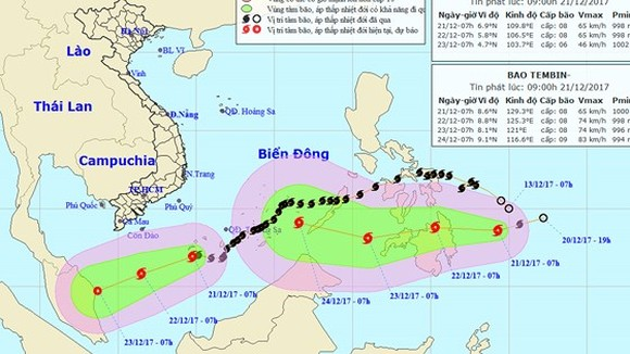 Position of typhoon Kai- tak and Tembin in East Sea (Photo:NMHFC)