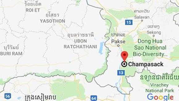 Champasak province, where occur in scaffold collapse (Photo:Google Maps)