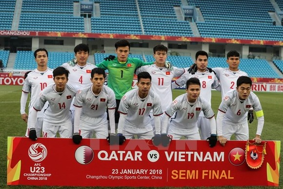 Starting lineup of Vietnam's U23 team in the match against Qatar in the AFC U23 Championship on January 23 (Photo: VNA)