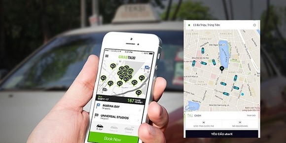 Seven taxi firms of Vietnam have developed their own car hailing applications, besides Uber and Grab, under a Government approved pilot project to apply science and technology in passenger transportation. (Photo: techz.vn)