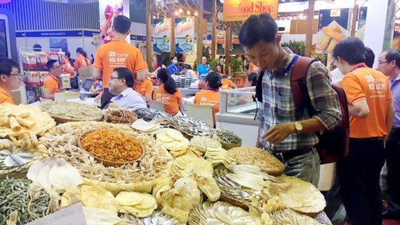 Seafood products showcased at a workshop on EU seafood market in HCMC recently (Photo: SGGP)