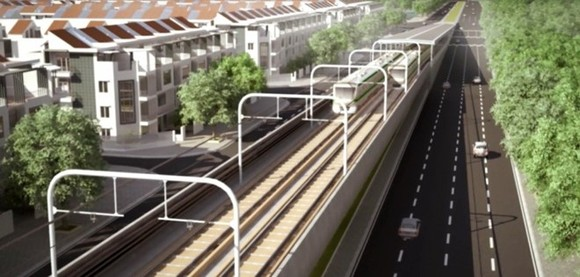 An artist's impression of the third metro line in Hanoi (Source: Hanoi Urban Railway Management Board)