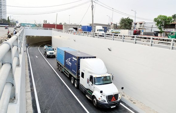 The tunnel under My Thuy intersection has been opened to traffic after eight months of construction (Photo: SGGP)