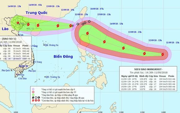 """Siêu bão Mangkhut (phải) đang """"đuổi theo"""" bão số 5 hướng vào Biển Đông. Ảnh: NCHMF"""