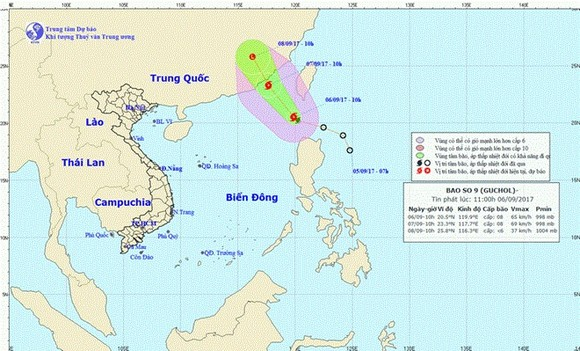 Direction of Typhoon Guchol. – Photo National Centre for Hydro-Meteorological Forecasting.