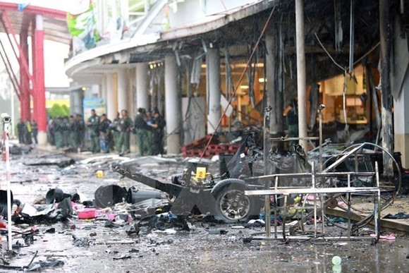 Scene of a bombing in southern Thailand (Photo: EPA/VNA)