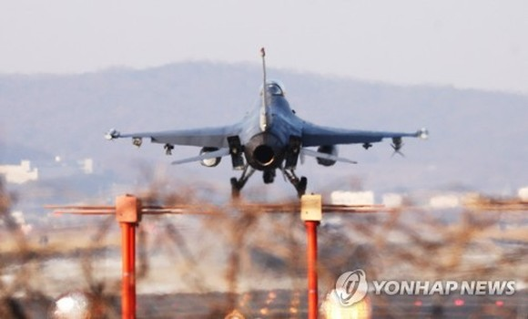 The U.S. Air Force's F-16 fighter jet participates in the Vigilant ACE exercise with South Korea on Dec. 4, 2017. (Yonhap)