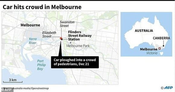 Close-up map of Melbourne locating the area where a car ploughed into a crowd on December 21, 2017. — AFP/VNA Photo