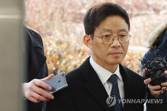 Former senior prosecutor Ahn Tae-geun appears at the Seoul Eastern District Prosecutors' Office on Feb. 26, 2018 to be questioned over sexual misconduct allegations. (Yonhap)