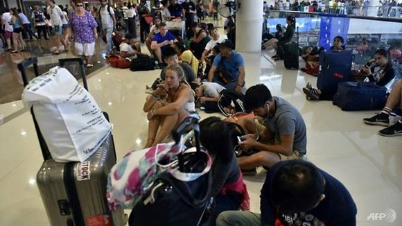 he airport closure has affected more than 8,000 travellers. (Source: AFP)