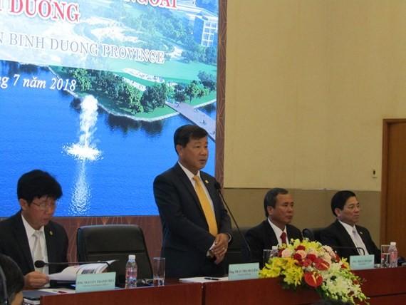 Chairman Tran Thanh Liem gives his speech at the meeting Photo: SGGP