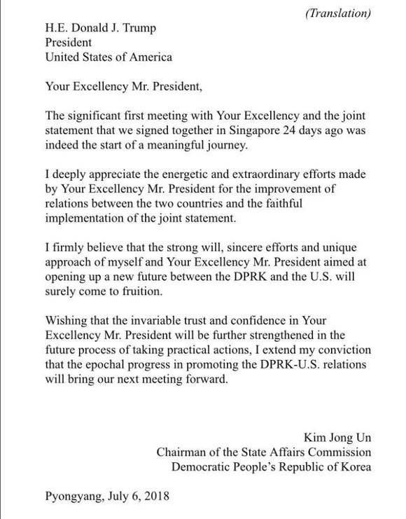 Tổng thống Mỹ công bố bức thư của nhà lãnh đạo Triều Tiên ảnh 2
