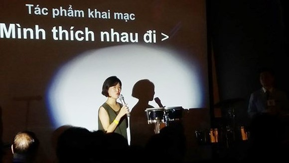 Director of the film Like for Likes, Park Hyun Jin speaks at the opening ceremony of the film festival.
