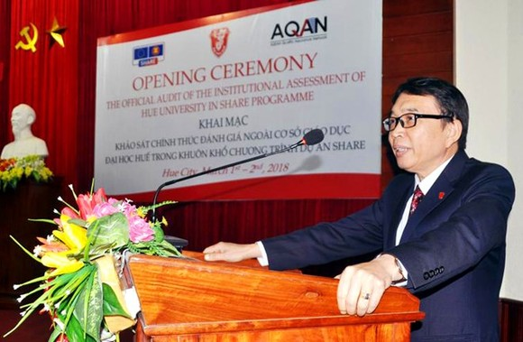 Director of Hue University Nguyen Quang Linh speaks at the ceremony (Photo: VNA)
