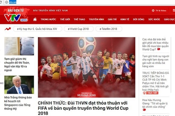 VTV announces the news on its website (Source: VNA)