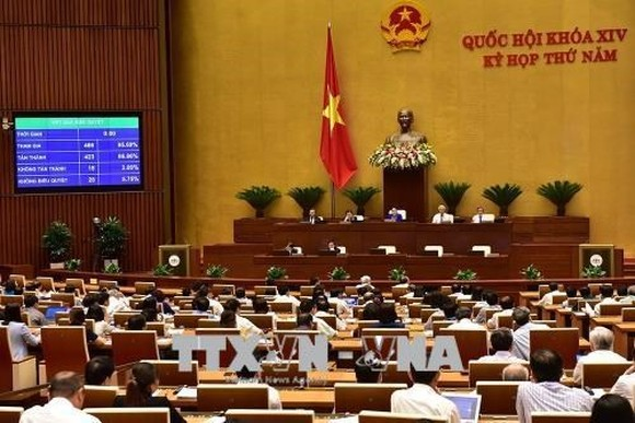 The Law on Cyber Security is adopted at the fifth session of the 14th National Assembly. (Photo: VNA)