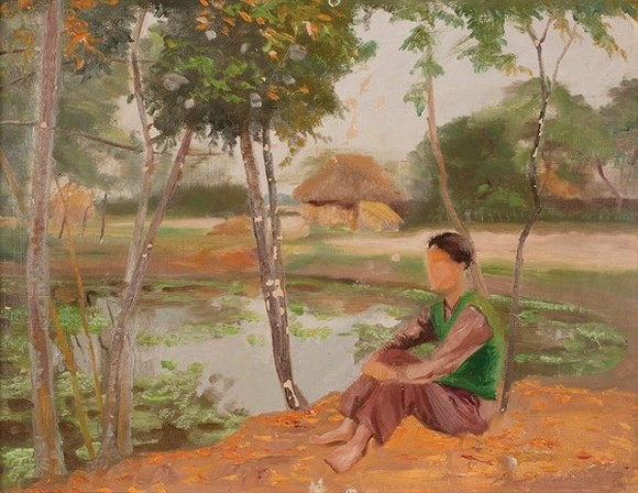 The painting ,Chieu buon (A blue evening) by Trinh Huu Ngoc is auctionedfor astarting priceofUS$4,000.