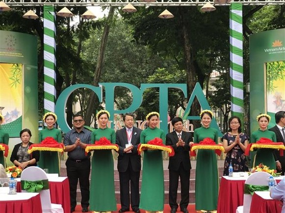 Scene at the opening ceremony of the CPTA exhibition in downtown Hanoi (Photo: VNA)