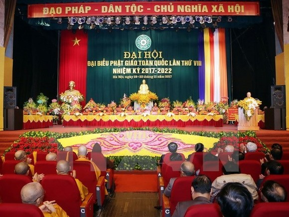 As many as 1,250 dignitaries, monks, nuns and followers attend the eighth congress of the Vietnam Buddhist Sangha (VBS) (Photo VNA)