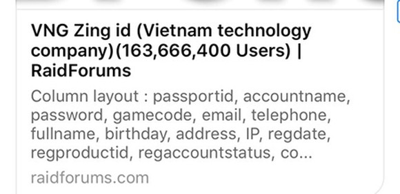 The information about the information leak of VNG's Zing ID accounts seen on the Internet