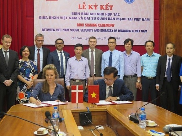Deputy Ambassador of Denmark Louise Holmsgaard (L) and VSS Deputy General Director Dao Viet Anh sign the MoU on August 21 (Photo: baohiemxahoi.gov.vn)