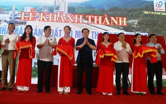 Deputy Prime Minister Vuong Dinh Hue (centre) and other officials at the inauguration ceremony of the MDF factory in Vu Quang district, Ha Tinh province, on April 21 (Photo: VNA)